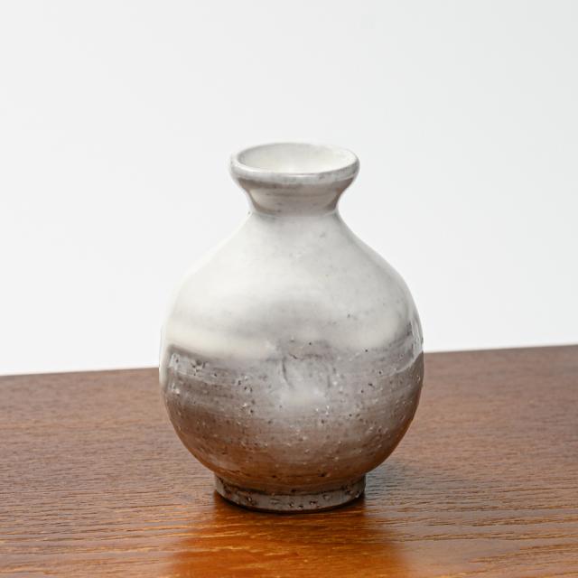 萩焼(伝統的工芸品)徳利小白萩掛分け丸えくぼ