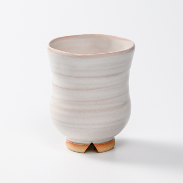 萩焼(伝統的工芸品)湯呑白姫胴締