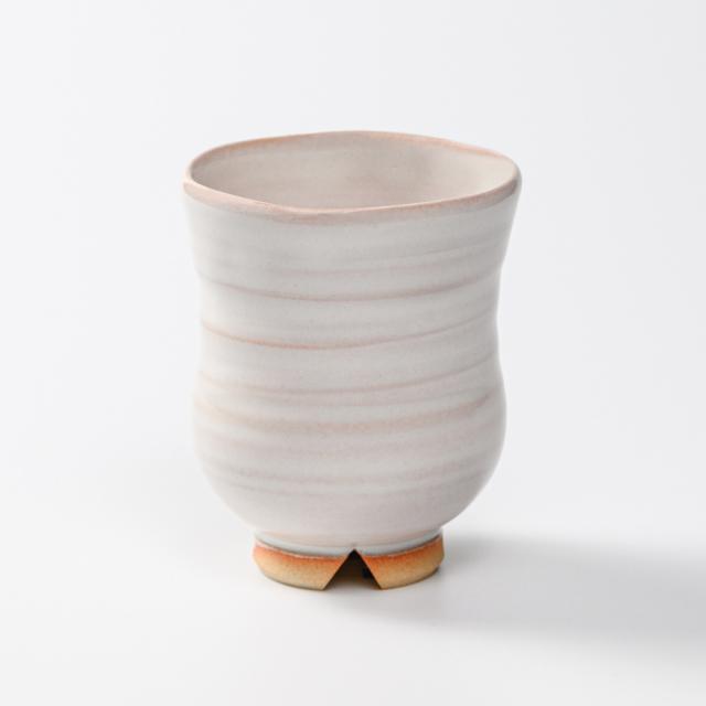 萩焼(伝統的工芸品)湯呑小白姫胴締