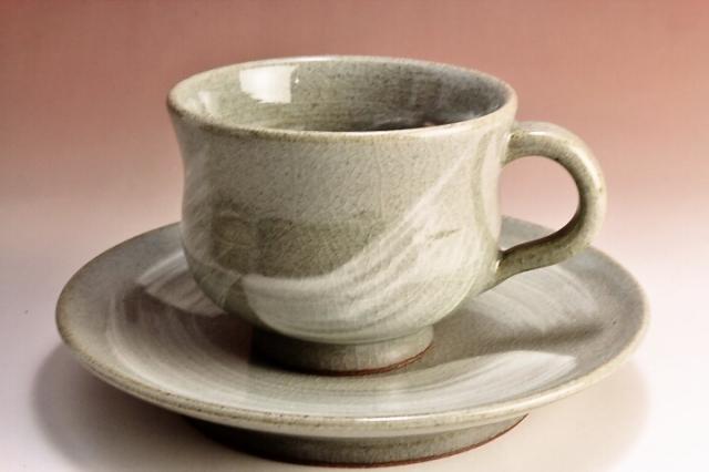 萩焼(伝統的工芸品)カップ&ソーサ刷毛青胴締