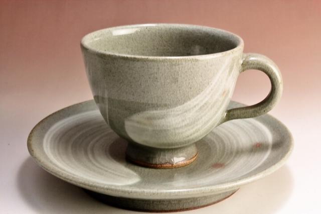 萩焼(伝統的工芸品)カップ&ソーサ刷毛青呉器