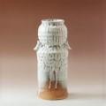 萩焼(伝統的工芸品)花入大鬼白松筒胴締耳付ヘラメ