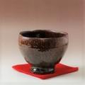 萩焼(伝統的工芸品)抹茶碗上大鉄赤釉荒呉器輪花