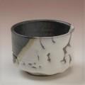 萩焼(伝統的工芸品)そばちょこ掛分け(鬼白松&黒釉)筒線彫