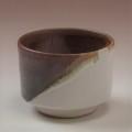 萩焼(伝統的工芸品)そばちょこ掛分け(白姫&鉄赤釉)筒