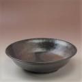 萩焼(伝統的工芸品)平鉢掛分け(鉄赤釉&黒釉)朝顔