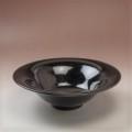 萩焼(伝統的工芸品)鉢銀黒星釉朝顔