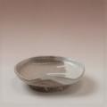萩焼(伝統的工芸品)小皿白萩掛分け豆形二辺