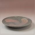 萩焼(伝統的工芸品)平皿中刷毛青荒丸