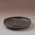 萩焼(伝統的工芸品)平皿中鉄釉八角