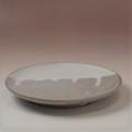 萩焼(伝統的工芸品)平皿中白萩掛分け丸