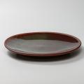 萩焼(伝統的工芸品)大皿鉄赤釉丸