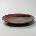 萩焼(伝統的工芸品)特大皿鉄赤釉丸