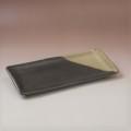 萩焼(伝統的工芸品)タタラ平皿掛分け(黒釉&わら)四方11×24