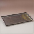 萩焼(伝統的工芸品)タタラ長皿鉄釉四方14×26