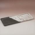 萩焼(伝統的工芸品)タタラ長皿掛分け(鬼白松&黒釉)四方11×32