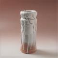 萩焼(伝統的工芸品)花入鬼白松筒矢筈口ヘラメ