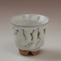 萩焼(伝統的工芸品)煎茶湯呑鬼白松端反ヘラメ