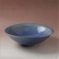 萩焼(伝統的工芸品)水盤藍釉末広