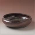 萩焼(伝統的工芸品)水盤鉄赤釉荒伽藍石