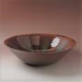 萩焼(伝統的工芸品)水盤大鉄赤釉朝顔流し紋