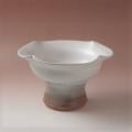 萩焼(伝統的工芸品)コンポート白萩掛分け四つ葉高付