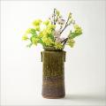 萩焼(伝統的工芸品)花器大緑釉荒筒肩衝耳付叩き紋