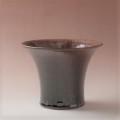 萩焼(伝統的工芸品)植木鉢鉄赤釉荒端反