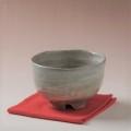 萩焼(伝統的工芸品)抹茶碗刷毛青荒半筒