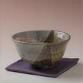 萩焼(伝統的工芸品)抹茶碗上掛分け(刷毛青荒&鉄釉)井戸形