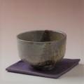 萩焼(伝統的工芸品)抹茶碗上掛分け(刷毛青荒&鉄釉)半筒