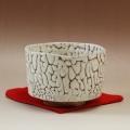 萩焼(伝統的工芸品)抹茶碗上鬼白松半筒面取