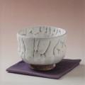萩焼(伝統的工芸品)抹茶碗上鬼白荒竹胴締