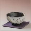 萩焼(伝統的工芸品)抹茶碗上掛分け(鬼白荒松&黒釉)馬盥