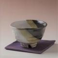 萩焼(伝統的工芸品)抹茶碗上掛分け(鬼白荒梅&黒釉)碗形猪口