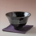 萩焼(伝統的工芸品)抹茶碗上掛分け(黒釉&銀黒星釉)端反
