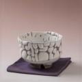 萩焼(伝統的工芸品)抹茶碗上小鬼白竹胴締