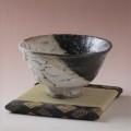 萩焼(伝統的工芸品)抹茶碗極上大掛分け(鬼白荒松&黒釉)井戸形