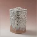 萩焼(伝統的工芸品)水指鬼白松四方面取(共蓋付)