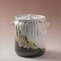 萩焼(伝統的工芸品)水指掛分け(鬼白松&黒釉)筒耳付(共蓋付)