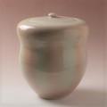 萩焼(伝統的工芸品)水指化粧掛分け胴締(共蓋付)