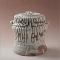 萩焼(伝統的工芸品)水指特鬼白松筒耳付(共蓋付)