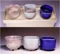 萩焼(伝統的工芸品)「萩彩和器」【彩季豆小鉢-ら】(豆小鉢3個・塗り箱入り)