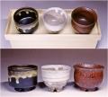 萩焼(伝統的工芸品)「萩彩和器」【彩季豆小鉢-も】(豆小鉢3個・塗り箱入り)