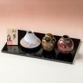 萩焼(伝統的工芸品)豆楽豆花入「初夢」3点(塗り板・立札付)