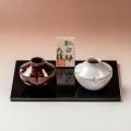 萩焼(伝統的工芸品)豆楽豆花入「紅白梅」2点(塗り板・立札付)