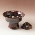 萩焼(伝統的工芸品)花楽鉄赤釉荒コンポート花留め付
