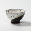 萩焼(伝統的工芸品)飯碗掛分け(鬼白荒竹&黒釉)呉器