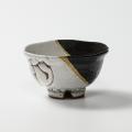 萩焼(伝統的工芸品)飯碗掛分け(鬼白荒松&黒釉)朝顔