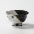 萩焼(伝統的工芸品)飯碗掛分け(鬼白荒竹&黒釉)朝顔